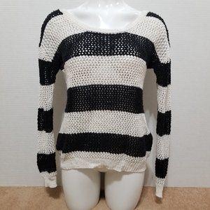 LA Hearts sweater Medium stripe open knit pullover